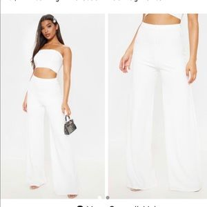 WHITE HIGH WAISTED PANTS FROM PRETTY LITTLE THING